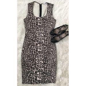 Grey/Black 50s Pinup Cheetah Stretch Pencil Dress